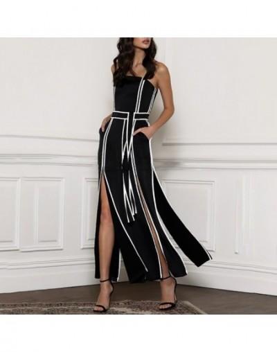 Spring Hit Color Sleeveless Jumpsuit Women Strap High Waist Bandages Split Wide Leg Pants Female Fashion 2019 - black - 4I41...