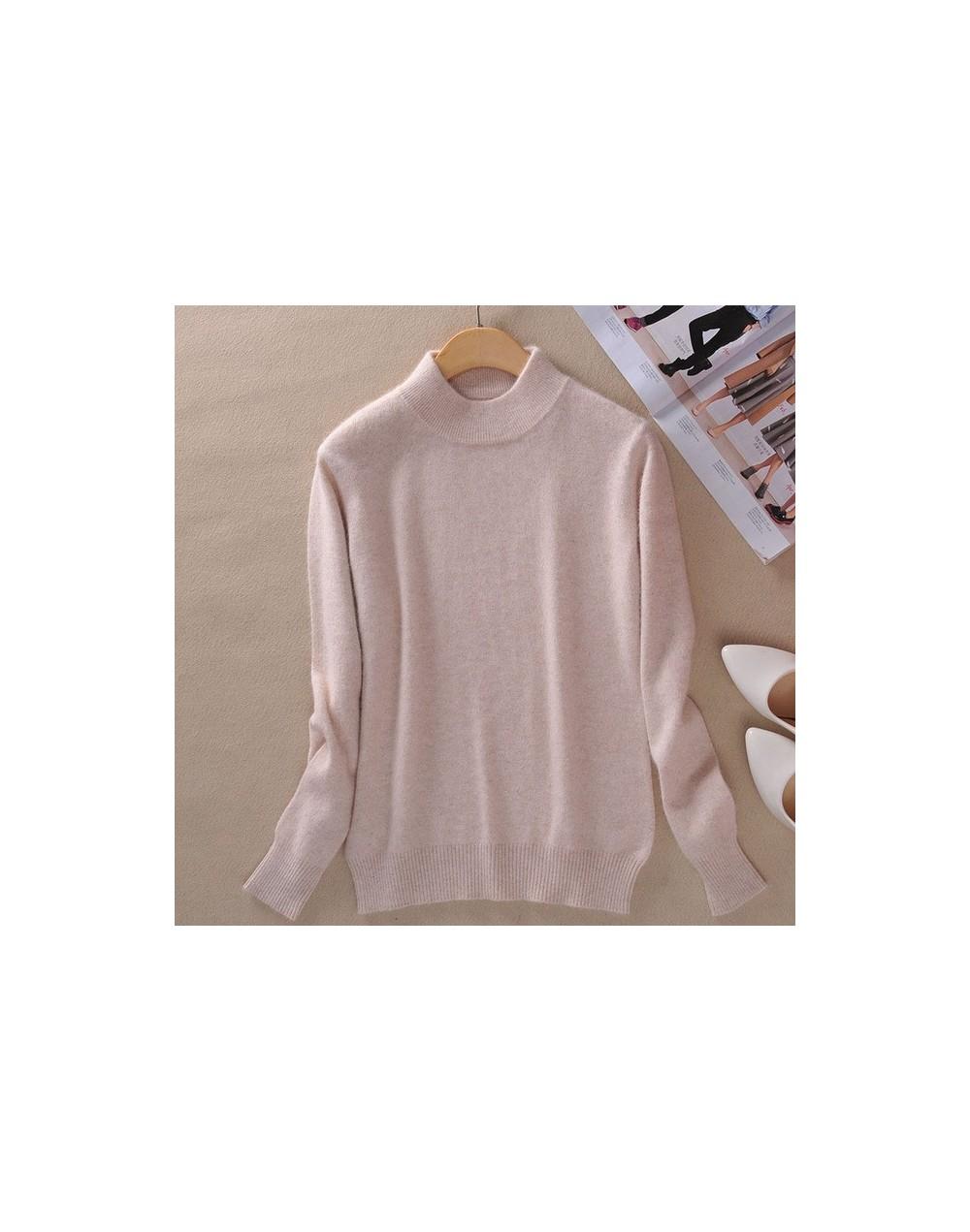 2018 Women Cashmere WooL Blend Sweater And Pullover Long Sleeve Knitted Half Turtleneck Pullover Women Winter Knit-wear Swea...