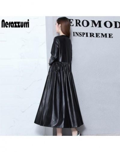 nerazzurrri pu leather dress women red gray plus size dress 4xl 5xl 6xl elegant loose long pleated dress - Black - 4P3006188...