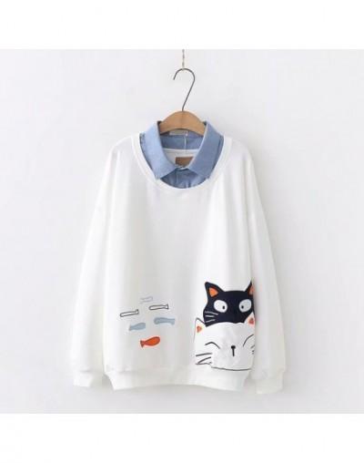 Women Turndown Collar Long Sleeve Fake 2 pieces Hoodies Cartoon Cat Embroidery Cotton Sweatshirts Cute Pullover - White - 46...