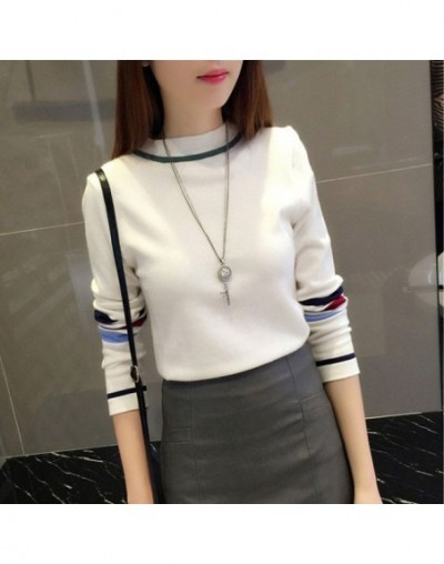 2018 Fashion Korean Sweater Turtleneck Long Sleeve Sweaters Pullovers Stripe Casual Knitted Basis Sweater Women Clothes - wh...