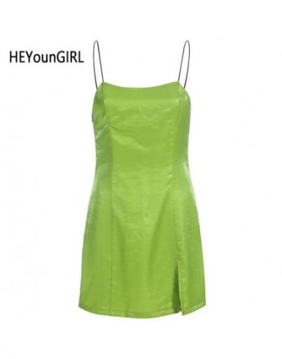 Summer Sexy Spaghetti Strap Dress Sleeveless Backless A Line Elegant Ladies Dresses Split Side Party Mini Dress Club - Army ...