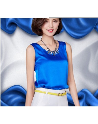 Summer women blouses 2017 new casual chiffon silk blouse slim sleeveless O-neck blusa feminina tops shirts solid - Blue - 4I...