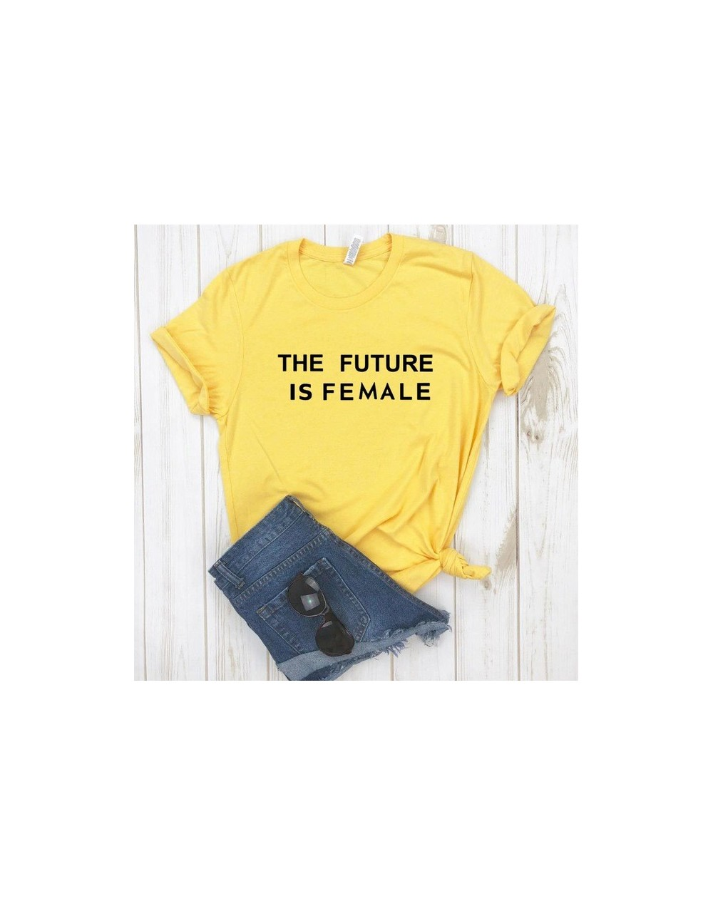 THE FUTURE IS FEMALE print Women tshirt Cotton Casual Funny t shirt For Lady Girl Top Tee Hipster Drop Ship SB-9 - YELLOW - ...