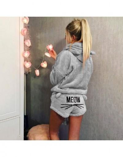 Women Coral Velvet Suit Two Piece Autumn Winter Pajamas Warm Sleepwear Cute Cat Meow Pattern Hoodies Shorts Set 2018 New - G...