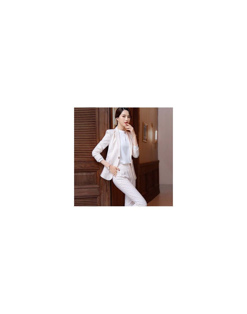Women blazer with trousers set female suits 2018 officer uniforms designs business striped pant suits largest size 4XL for w...