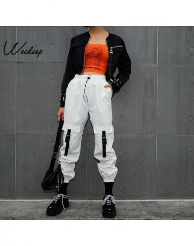 Women White High Waist Cargo Pants Streetwear Pockets Patchwork Pencil Pants Loose Elastic Waist Trousers Women - White - 4T...