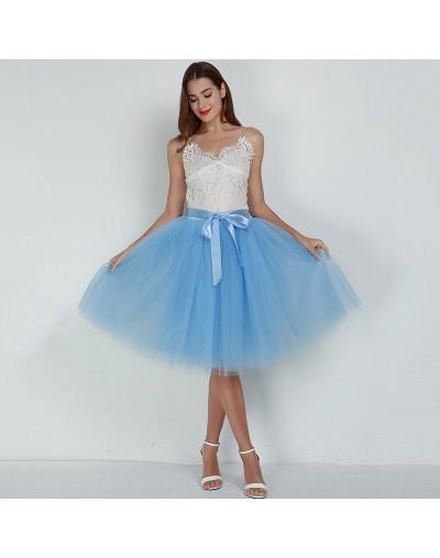 New Fashion 6 Layers 65cm Tulle Skirts Women's Black Gray White Adult Tulle Skirt Elastic High Waist Pleated Midi Skirt Clot...