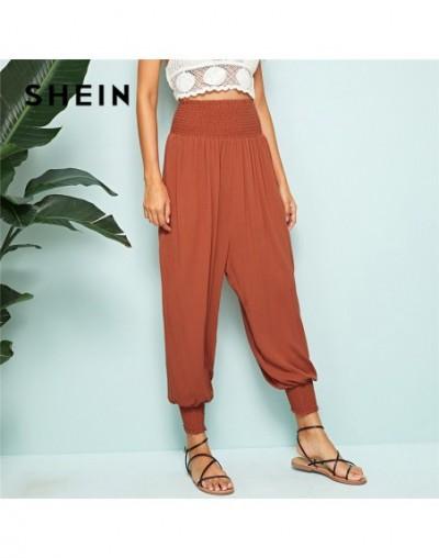 Rust Shirred Waist And Hem Harem Pants Women Casual Solid Loose High Waist Pants Spring Summer Beach Pants Ladies Trousers -...