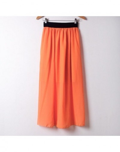 New Summer Fashion Women Skirts Candy Color Loose Chiffon Pleated Long Skirts Elastic Waist Maxi Skirt for Lady Plus Size S0...
