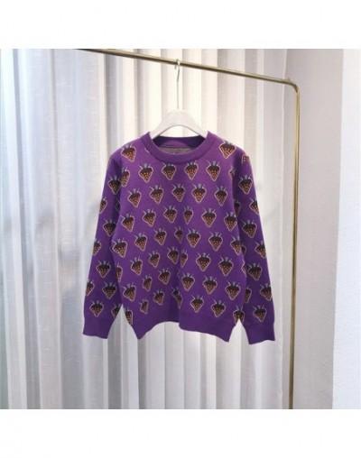 Europe Sweet Strawberry Lurex Pullover 2019 New Fall Winter sueter mujer Cute Purple Knitted Sweater Women Runway Jumper C-3...