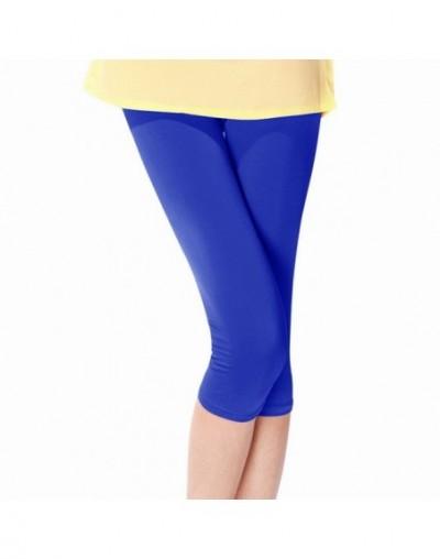 Short Fitness Leggings Women Fashion Solid Comfortable Knee Length Pants Casual Stretch High Waist Sportwear Leggings - blue...