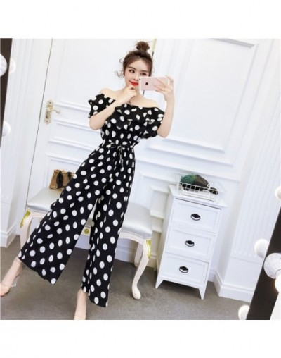 Summer Womens 2019 Jumpsuits Polka Dot Wide Leg Pants Off Shoulder Sexy Backless Summer Casual Loose Women Black White Plays...