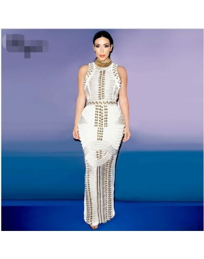 2017 new Kim kardashian black beading sleeveless women fashion sexy elegant long evening party bandage Dresses Sexy Dress + ...