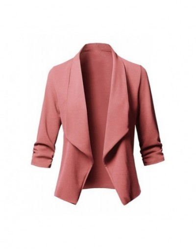 Hot Sale Women Autumn Cardigans Ruffled Long Sleeves Loose Casual Slim Fit Suit Coats CXZ - Pink - 4Z4151203979-5
