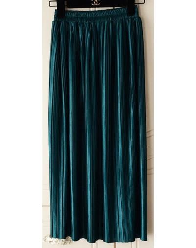 Silver Gold Pleated Skirt Womens Vintage High Waist Skirt 2018 Winter Long Warm Skirts New Fashion Metallic Skirt Female - g...