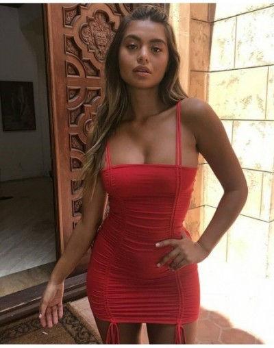 2019 New Brand Fashion UK Sexy Womens Bodycon Double Lace-Up Strappy Ladies Party Evening Midi Dress - Red - 4Z4114184077-3