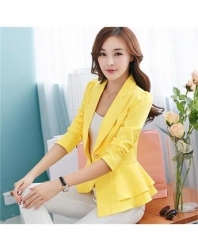 Candy Color Casual Blazer Feminino Slim Short Suit Ruffles Blazer Women Jacket Elegant OL Ladies Work Suits Blazers Jackets ...