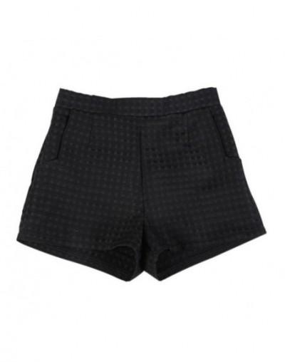 Women Europe Style Fashion High Waist Shorts Summer Casual Plaid Women Jeans Shorts - Black - 4U3960277771-1