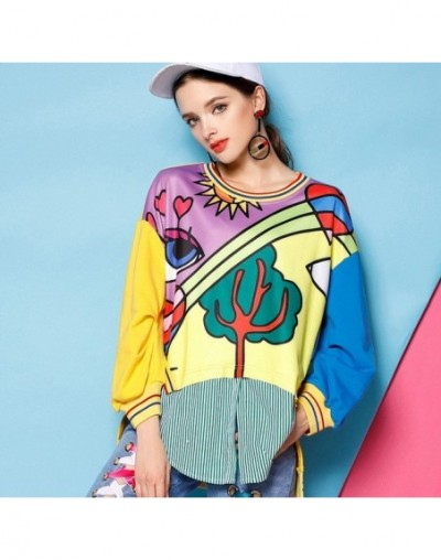 2019 New Fashion Spring Autumn Women Sweatshirt Cartoon Printed Stitching O-Neck Pullovers Personality Stripe Hit Color Top ...