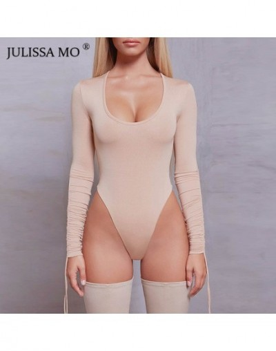 Sexy O Neck Long Sleeve Bodysuit Women Solid Lace Up High Waist Skinny Bodysuit Autumn Casual Drawstring Women Body - Khaki ...