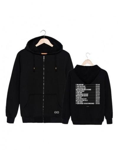 KPOP Korean Fashion EXO Planet 4 The ElyXiOn Album List Cotton Zipper Autumn Hoodies Zip-up Sweatshirts PT661 - Black - 4Z39...