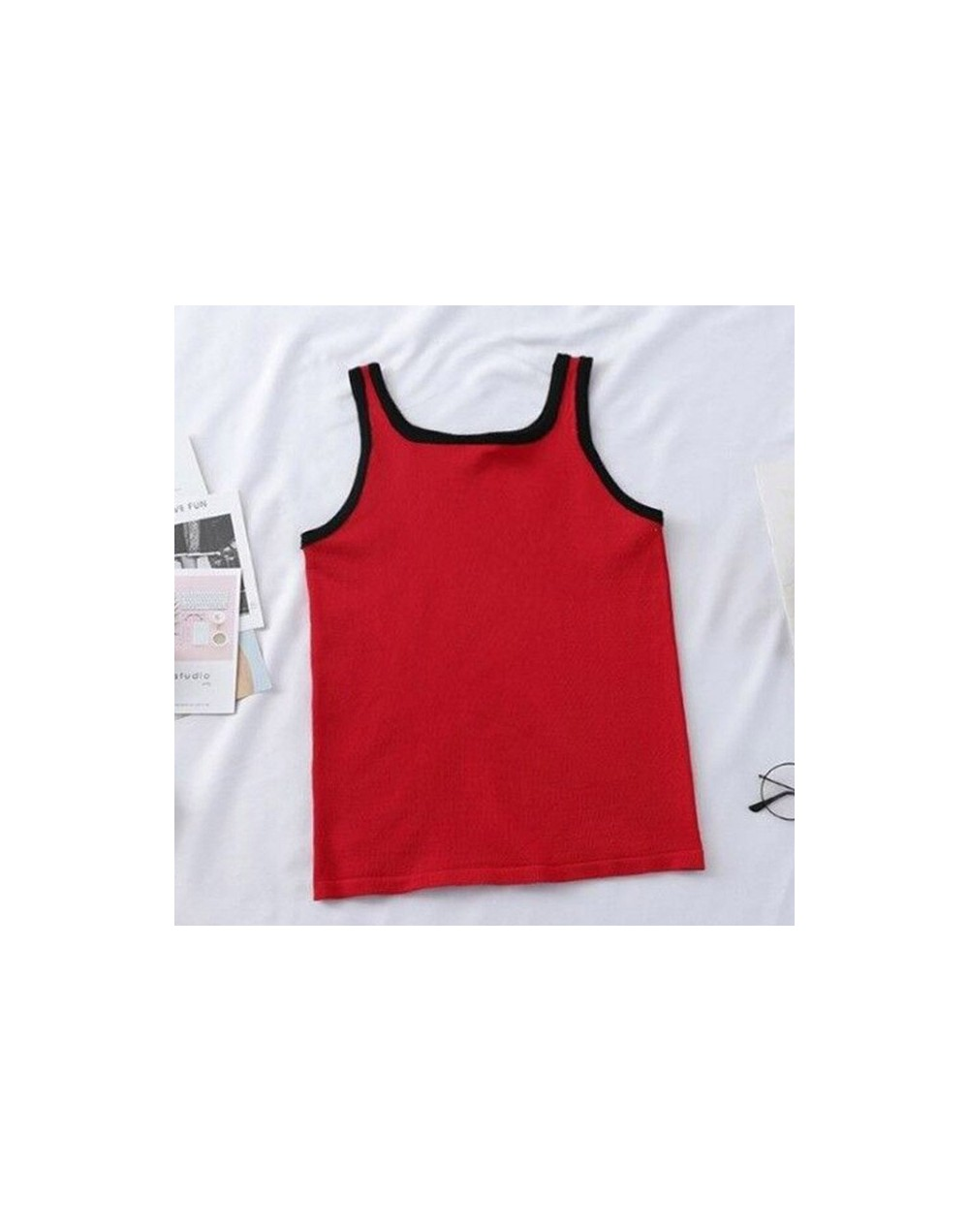Women's Vest Korean Style Sexy Round Neck T-shirt Backless Sleeveless Color Side Short Shirt Female Summer Casual Tops 2019 ...
