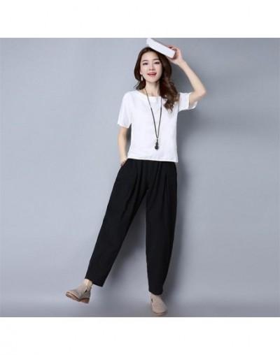 Autumn Summer New Women Black Pants Breathable Thin Casual Pencil Pants Simple Color Linen Cotton Feminos Trousers Plus Size...