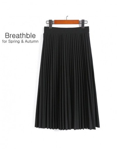 Spring Autumn Fashion Women's High Waist Pleated Solid Color Half Length Elastic Skirt Promotions Lady Black Pink Grey - Bla...