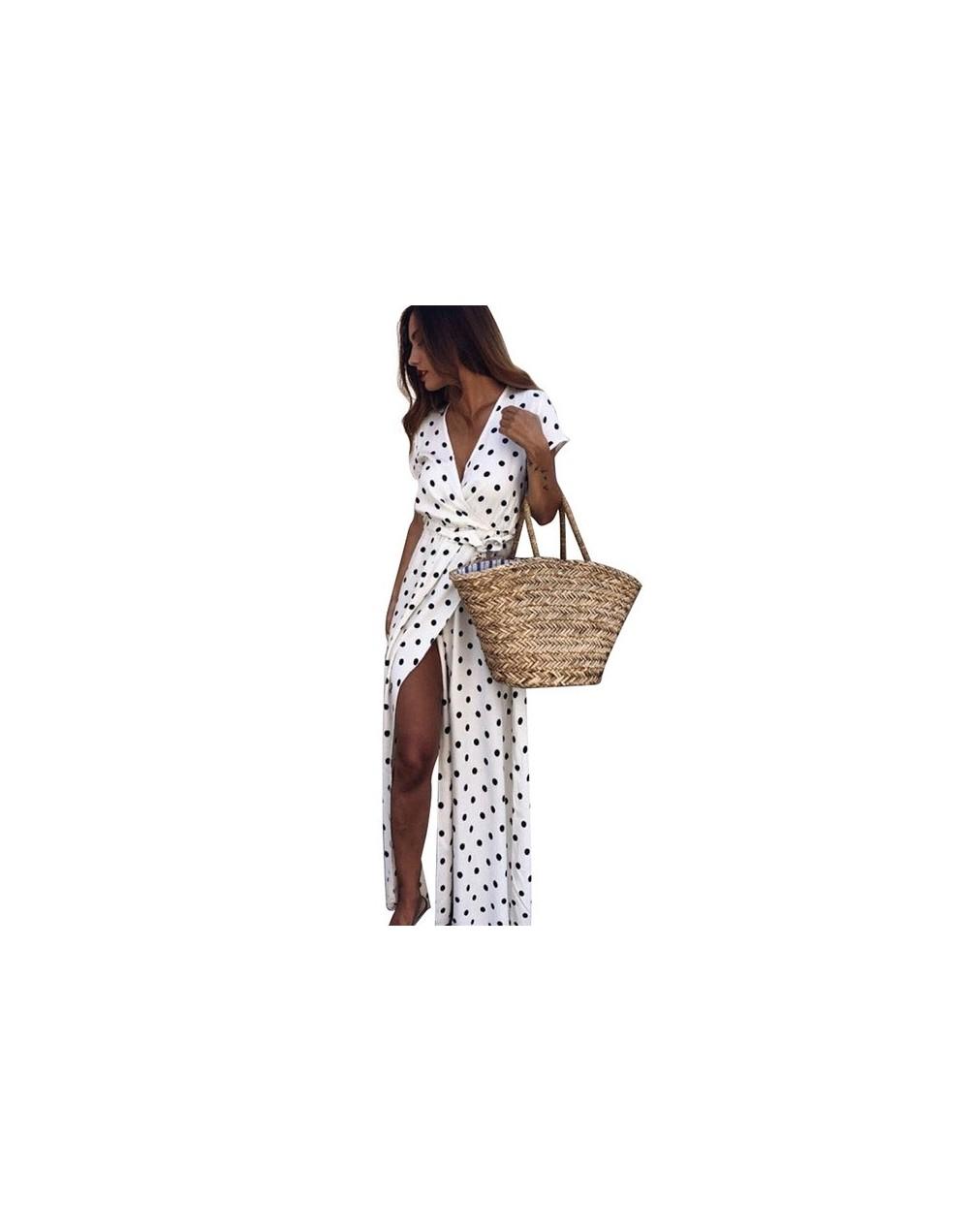 New Summer Women Long Dress Polka Dot Print Short Sleeve V-neck High Split Dresses Woman Party Night Casual Beach Maxi Dress...