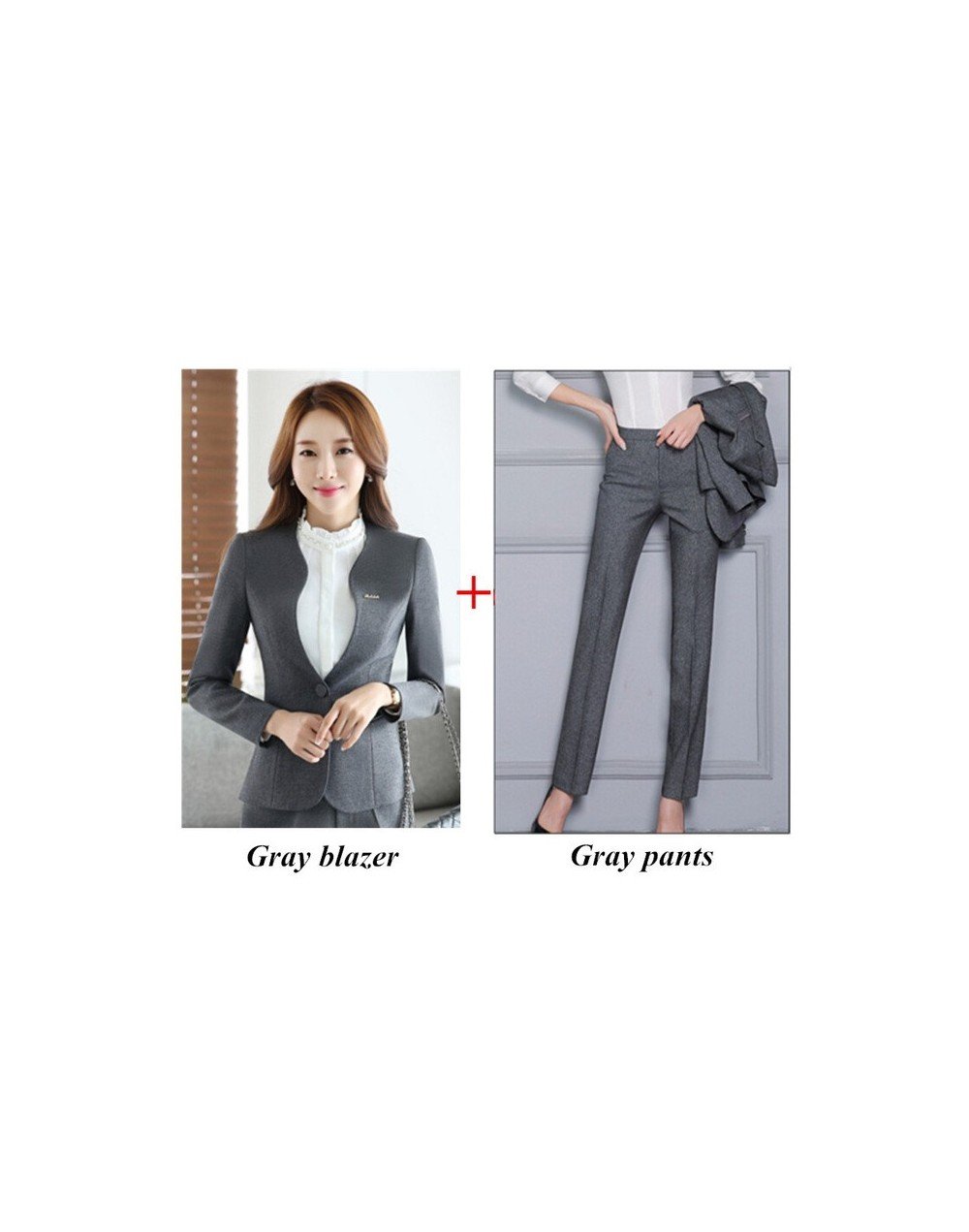 Autumn new women plus size Blazer with pants for work formal suits fashion office ladies slim long sleeve black gray pant su...