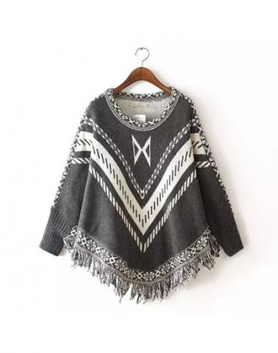 New Fashion 2019 Autumn Winter Women stripe Wool Pullovers Sweaters Bat Sleeve Shawl Cape Coat Sweater - Dark Grey - 4G37778...
