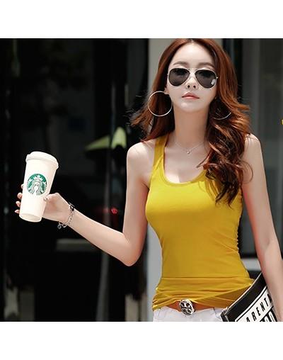 Sleeveless Basic Tank Tops Female Summer Top Women Clothes 2019 Tees Cotton Solid Korean Fashion Woman T Shirt Femme - yello...