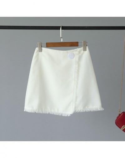 Spring Summer Women Skirts Faldas Ladies Short Skirts Button OL A-Line Cotton Skirts Girls Mini Short Skirts Saia Feminina -...