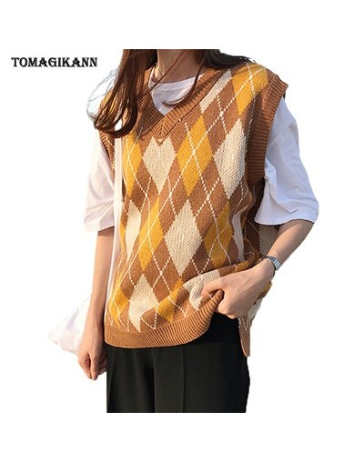 2018 Preppy Style Argyle Contrast Colors V Neck Knitted Vests Women Casual Loose Sleeveless Sweater and Pullovers Knitwear m...