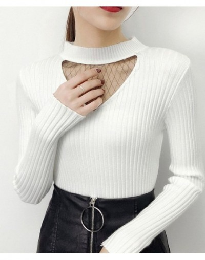 Solid Knitted Mesh Patchwork Sweater Halter V-Neck Female Flexible Pullover 2019 Autumn Winter Slim Sueter Mujer 69039 - whi...