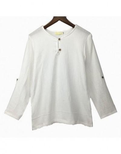 Spring Autumn Long sleeve cotton linen T-shirt Plus Size S- 5XL 6XL Clothes Teewomen shirtscamisetas femininas - White - 4Y3...