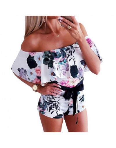 Sexy Ladies Off Shoulder Shorts Jumpsuits 2019 Summer Slash Neck Playsuit Rompers Women Bohemian Floral Printed Ruffle Plays...