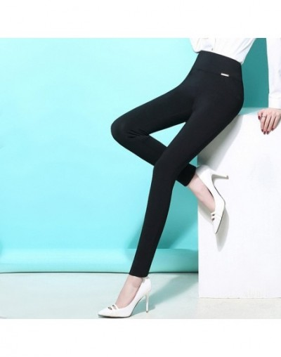 Legging autumn female high waist elastic ultra slim plus size pencil pants thermal trousers - Black - 4U3649524107-1