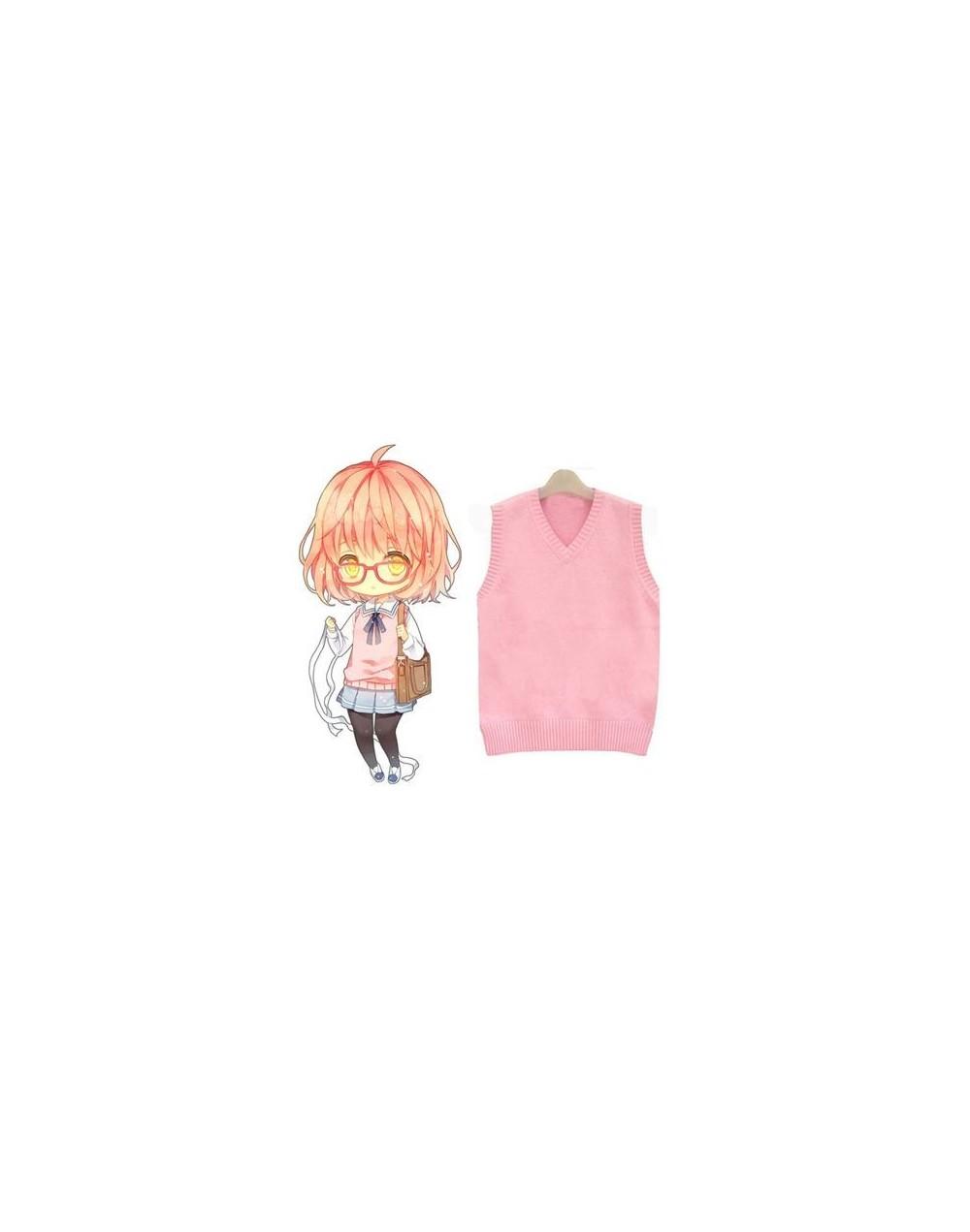 Japanese School Student JK Uniform Vest V-neck Sailor Sweater For Girl Sleeveless Anime Love Live K-on Cosplay Knit - Pink -...