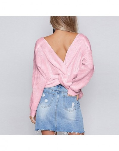 women sweaters and pullovers Loose Knitted Tops Plunge V Neck Twisted Long Sleeves Drop Shoulder Crossed Casual Jumper Tunic...