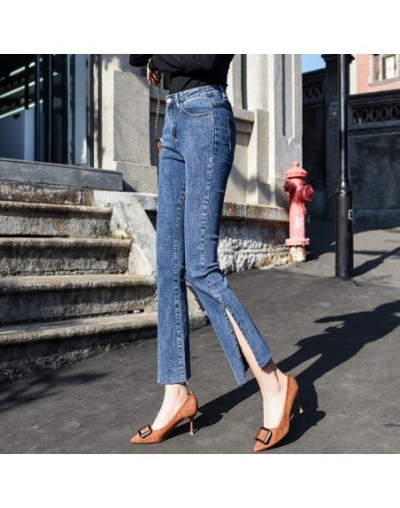 Women High Waist Trousers Jeans Embroidered Flares Stretch Denim Pants Boyfriend Jeans Female Skinny Mom Jeans Flare Pants -...