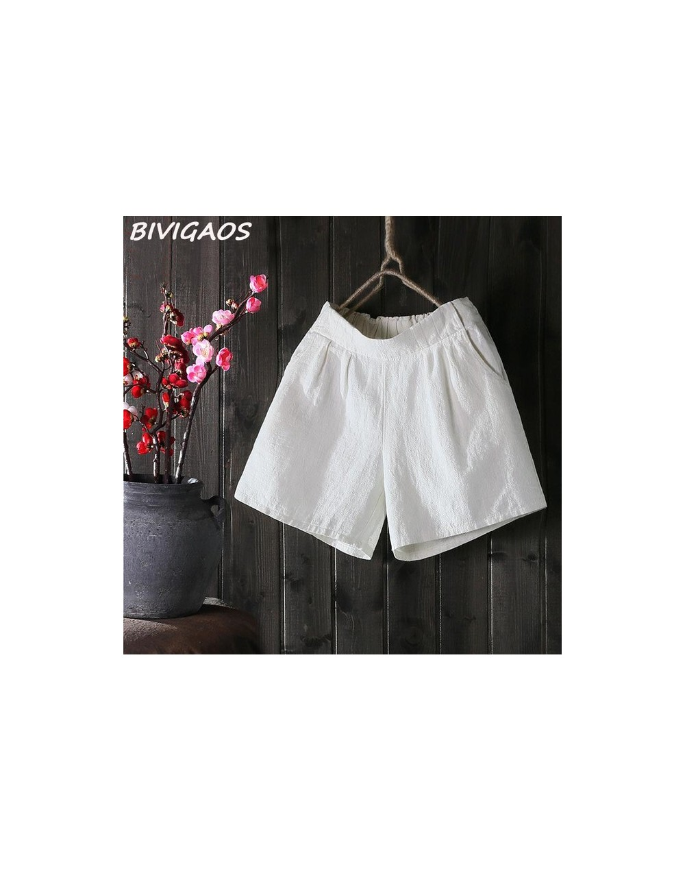 New Womens Summer Loose Cotton Linen Shorts Femme Elastic High Waist Wide Leg Short Shorts Casual Short Fashion - White - 49...