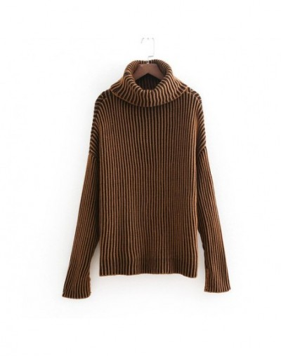 Casual Solid Knitted Woman Sweaters New Arrivals Turtleneck Long Sleeve Women Pullovers Chic Fall Loose Lady Outwear - Brown...