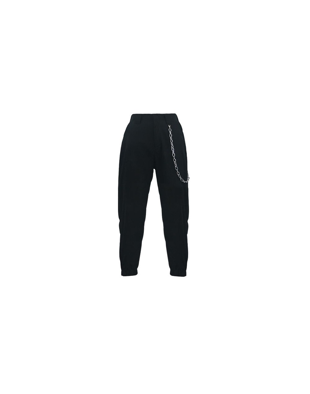 Streetwear Cargo Pants Women Casual Black High Waist Loose Female Trousers With Chains Ladies Harem Pants Dropshipping - bla...