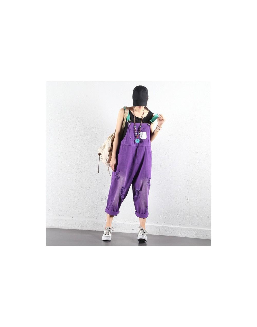 Purple Wide Leg Bib Denim Overalls Women casual Jumpsuits oversized hole ripped baggy Suspenders jeans loose Cowboy Bodysuit...