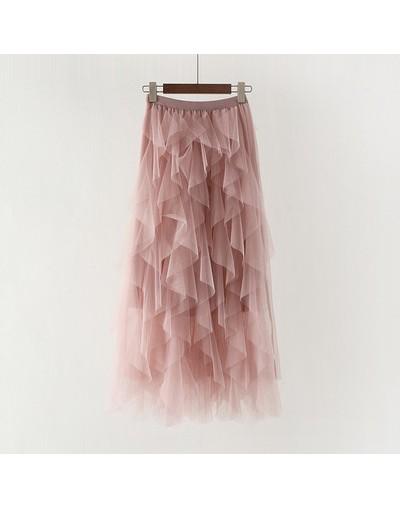 Long Tutu Tulle Skirts Women High Waist Pleated Skirt Female 2019 Sweet Pink Ruffles High Waist Pleated Skirt Faldas Saias J...