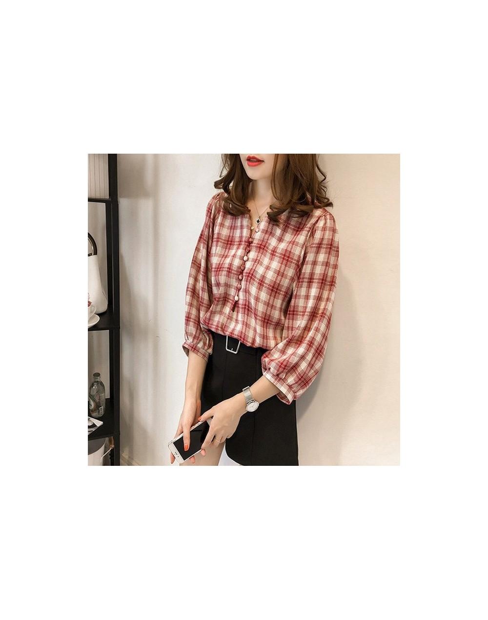 Plus Size M-4XL Plaid Women Shirt Fashion Spring Sexy V-neck Single Button Blouse Casual Loose Lantern Sleeve Female - Red -...