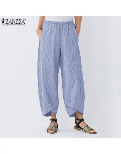 Women Striped Wide Leg Pants Casual Asymmetrical Trousers Cotton Linen Elastic Waist Pockets Pantalon Streetwear Overisze - ...