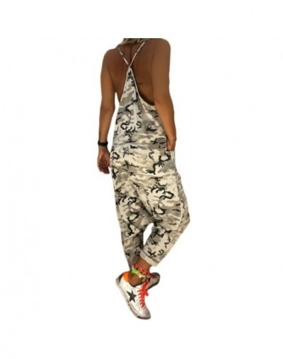 summer Camouflage Stylish Women Strap Sleeveless Straight Pocket Jumpsuit Ladies Cotton Linen Overall Streetwear harm Trouse...